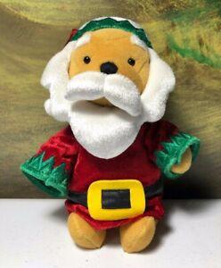 Disney Store Winnie the Pooh Santa small 8 inch beanie stuffed plush 2001