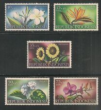 Indonesia #B104-B108 (SP52) VF MNH - 1957 10s+10s to 75s+50s Flowers