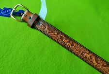 Nwt New 3D Vintage Childrens Kids Tooled Leather Belt~Size 22~Cowboy Western