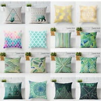 Green Geometric Cotten Linen Throw Pillow Case Sofa Cushion Cover Home Decor