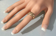 Stunning Antique 18ct Gold Hearts & Flowers Keeper Ring c1912 UK Size O