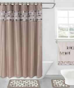 4PC SET BATHROOM BATH MAT RUG SHOWER CURTAIN 2-TONE COLOR BUTTERFLY PRINTED NEW