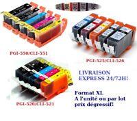 Cartouche d'encre non OEM Canon Pixma PGI525/CLI526 PGI520/CLI521 PGI550/CLI551