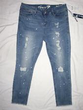 Seven 7 Paint Splattered Destructed Fray Hem Ankle Skinny Jeans 12 NEW