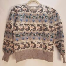 Susan Bristol Hand Embroidered Wool Women SZ40 Sweater Cats And bow