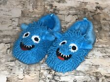 Cookie Monster Childrens Slippers Slip On Blue Size 5