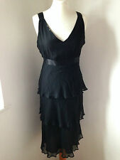 Phase Eight Black Silk Satin and Chiffon Strappy Dress Tiers, Beading Size 12