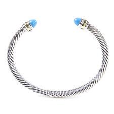 DAVID YURMAN Cable Classics Bracelet Cabochon Turquoise & 14K Gold 5mm $625 NEW