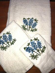Embroidered IVORY Bath Towel, Hand Towel & Wash Cloth Set Bluebonnet Flowers