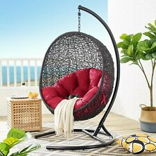 Outdoor Patio Wicker Rattan Hanging Swing Lounge Chair With Stand in Red