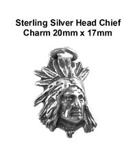 Sterling Silver Small Chief Charm 18mm x 12mm VT-SS-0868