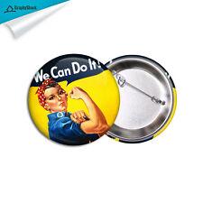 We Can Do It Feminist Feminism Pin Pinback Badge Button Metal Big 2-1/4 inch 58