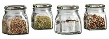 Palais Glassware 3 Ounce Spice Jar with Glass Lid - Square Finish (Set of 4)
