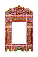 Moroccan farmhouse Red hanging mirror frame, decor of wood, hand-painted