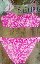 Vintage Barbie Crop Convertible Bandeau Top Neon Hot Pink B C Halter Bikini L