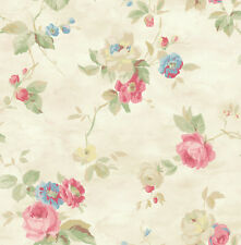 Watercolor Floral Romantic Blue Cream Pink Yellow Green Double Roll Wallpaper