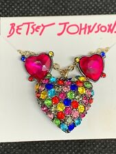 Betsey Johnson Gold Tone Earring & Crystal Heart Pendant Necklace B802