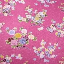Kona Bay Sateen Asian Floral, Flowers on Rose Pink Cotton Fabric, BTY