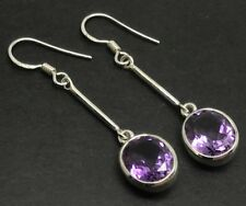 Amethyst faceted oval long drop earrings, solid Sterling Silver, New, UK Seller