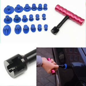 Car Body Paintless Dent Repair Tool Puller Lifter T-Bar Hand Puller 18x TABS Kit