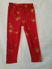 GAP LEGGINGS RED WITH STARS GOLD SIZE 3T (NWT) FOR A BEAUTIFUL PRINCESS 👸👸