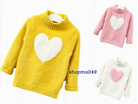 Girls Winter Sweater Kids Jumper Childrens Warm Christmas Knitted Age 2-8 Years