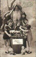 Christmas - French Santa Claus Kids Dolls c1915 Real Photo Postcard