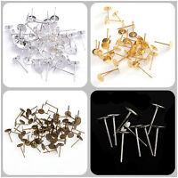 100pcs Silver/Gold Plated Flat Pad Stud Earrings Accessories Post Stud 12*6mm