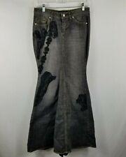 Bisou Bisou Black Denim Trumpet Skirt Black Lace Inset Women's Size 2
