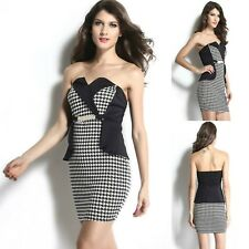 Sz S 8 10 Black White Strapless Peplum Formal Cocktail Party Slim Fit Dress