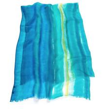 RALPH LAUREN Blue Green Stripe Gauze Kimberly Fringe Wrap Scarf