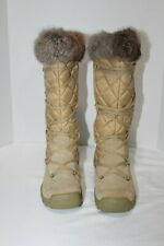 AMERICAN EAGLE SNOW BUNNY Tan Suede Leather Upper Fur Trim Snow Boots Size 6 M