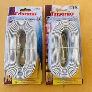2X 100 Feet Long Telephone Extension Cord Modular Phone Cable Line Wire - White