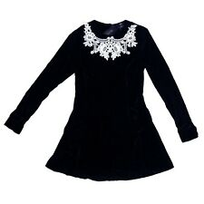 Restyle Gothic Occult Horror 80s 90s Black Velvet White Lace Dolly Dress Size M