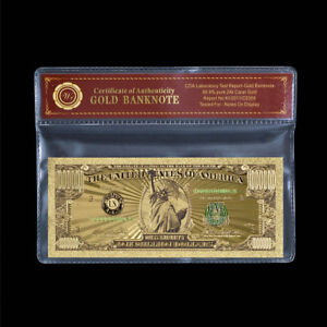 WR One Million US American Dollars Banknote Money 24K Golden with Certificate