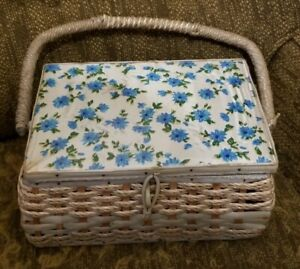 Vintage 1960's Japan  Sewing Basket Box With Handle blue floral fabric