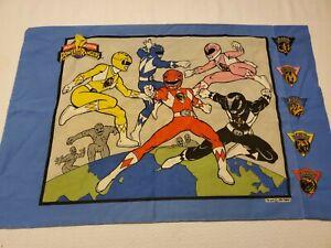 Kids Face Mask Fabric VTG Mighty Morphin Power Rangers Pillow Case 1994 Saban