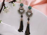 Earrings Golden Long Chandelier Pompom Tassel Green Ethnic Fan XX13