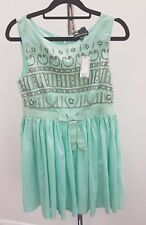 Ladies Warehouse Occasion Party Aqua Green Cotton Skater Sequin Dress Size 10