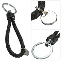 Fashion Black Leather Strap Weave Rope Keyring Keychain Key Chain Ring Man Gift
