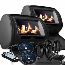 "2X Black Headrest Pillow 7"" LCD Dual DVD USB Players Game IR Headsets Zip Cover"