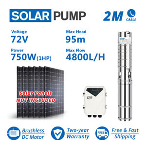 """3"""" DC Deep Well 1HP Solar Water Pump S/S Impeller Submersible w/ Controller 750W"""