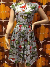 WOMENS RUN & FLY Indie Retro Vintage style 50s tea dress coloured dinosaur print