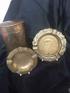 Vintage Brass Tabbaco Tin & 2 Brass Ashtrays