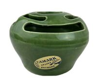 CAMARK ART POTTERY ROUND FLOWER FROG VASE 095 GREEN USA VINTAGE