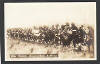 Postcard South Africa Amanzimtoti a Zulu War Dance ethnic weapons men early RP