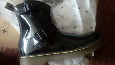 Dr. Martens Patent Biker Boots size 3 new with box black