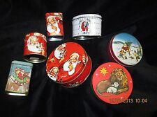 Christmas metal tins w/ lids, Santa, Lion & Lamb, 5 empty, 2 Candles, lot of 7