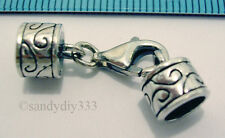 1x OXIDIZED STERLING SILVER END CAP 5.4mm CORD with LOBSTER CLASP N146
