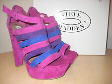 Steve Madden Shoes Size 7.5 M Womens New Audrinaa Raspberry Suede Wedge Sandals